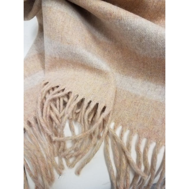 Merino Wool Throw Light Salmon With Soft White Stripes - Made in England For Sale In Dallas - Image 6 of 9