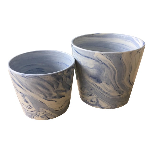 Abstract Modern Blue and White Porcelain Plant Pots - Set of 2 For Sale