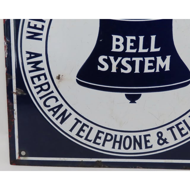 Metal Antique Porcelain on Steel Bell Telephone Advertising Sign For Sale - Image 7 of 13