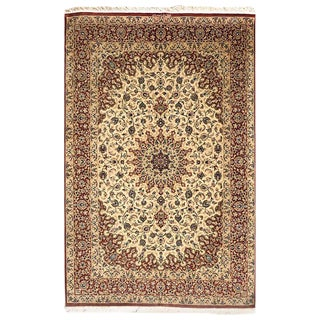 Persian Hand Knotted Silk Medallion Floral Qum Rug For Sale