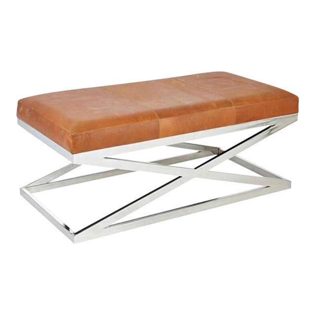 Taylor Burke Home Contemporary Chrome X Bench - Image 1 of 3
