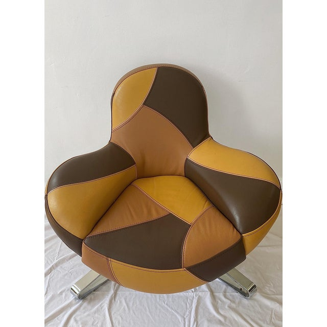 1970s Italian Leather Lounge Chair For Sale In New York - Image 6 of 6