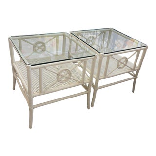 McGuire White Rattan Target Side Tables - a Pair