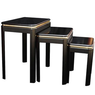 Black Lacquer Nesting Tables - Set of 3 For Sale