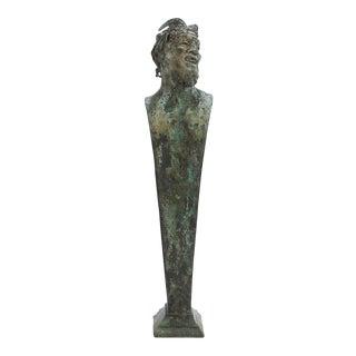 Antique Grand Tour Verdigris Bronze Herm Sculpture of Bacchus or a Faun For Sale