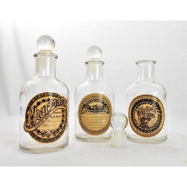 Vintage Glass Pharmacy Bottles - Set of 3 - Image 6 of 9