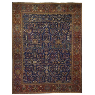 Fine Room-Size Antique Mahal Rug W/ Heriz-Serapi Colors, 13.5 X 10.5 For Sale