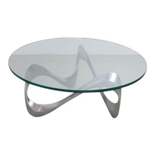 Aluminum and Glass Snake Coffee Table by Knut Hesterberg for Ronald Schmitt For Sale