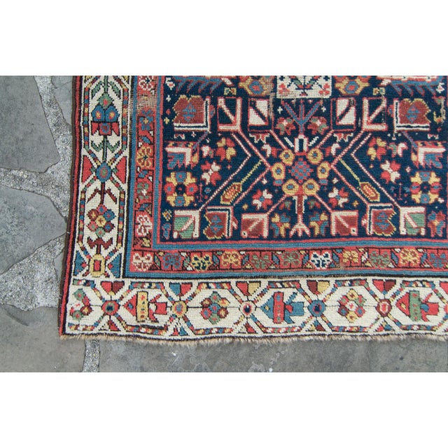 Blue House of Séance - 20th Century Antique Caucasian Handwoven Rug - 3′1″ × 10′10″ For Sale - Image 8 of 11
