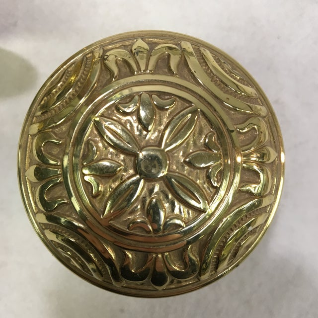 Antique Style Eastlake Heavy Brass Doorknobs - a Pair For Sale In Washington DC - Image 6 of 7