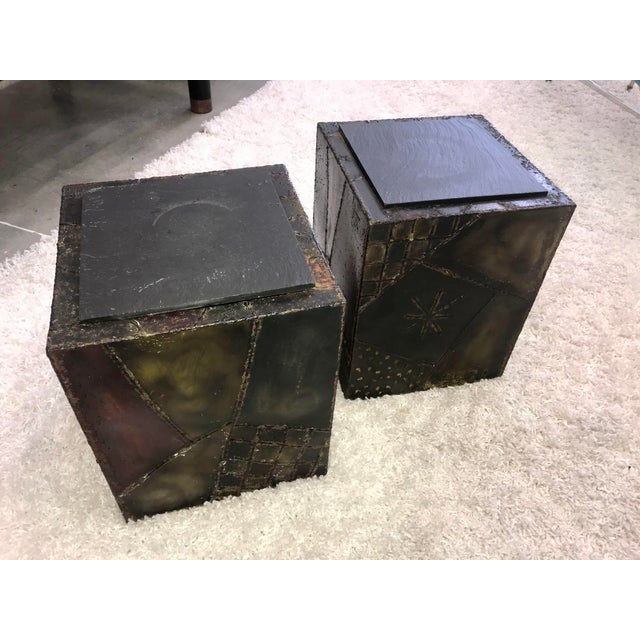 Mid-Century Modern Signed Paul Evans Sculpted Steel Side Tables - Pair For Sale - Image 3 of 11