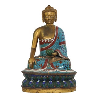 Pasargad DC Antique Hand Painted Tibet Bronze Buddha For Sale