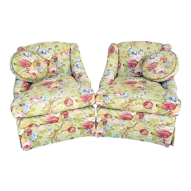 Century Furniture Company Floral Tropical Upholstered Skirted Club Chairs - a Pair For Sale