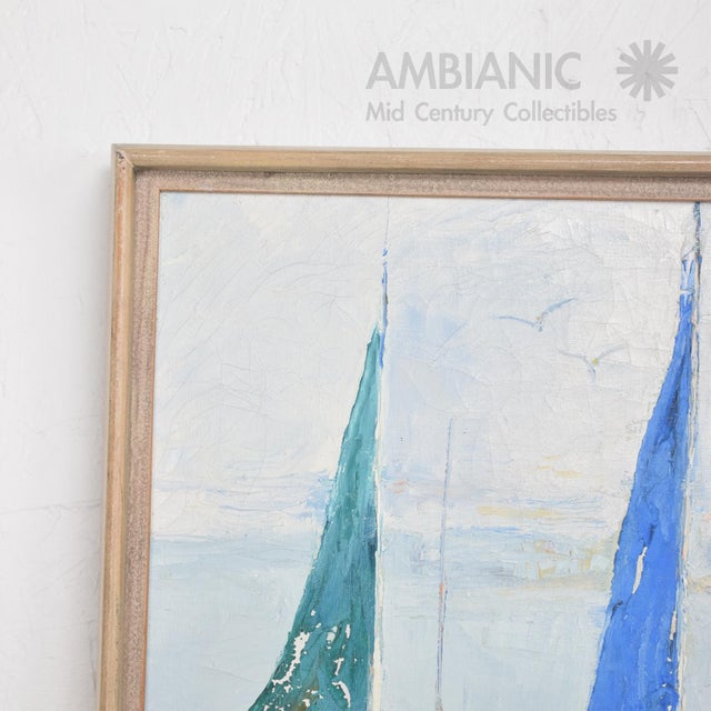 Oil in Canvas Hazel Rakestraw, Sailing Boats California Modern For Sale - Image 9 of 9