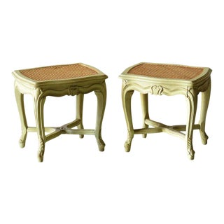 Louis XVI Style Swedish Style Distressed Painted Caned Stools - A Pair For Sale