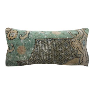 Vintage Turkish Turquoise Rug Pillow Cover - 12x24 For Sale