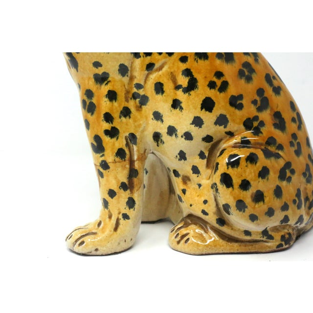 Vintage Italian Cheetah Hand-Painted Majolica Ceramic Leopard Figure For Sale In Tampa - Image 6 of 12