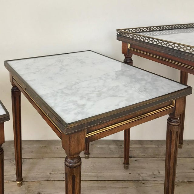 Set of Antique Directoire Marble Top Nesting Tables For Sale - Image 9 of 13