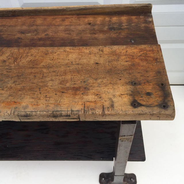 Early 20th Century Vintage Industrial Workbench With Table Vise For Sale - Image 5 of 10