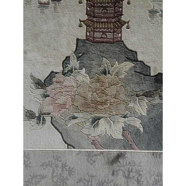 Vintage Chinese Wool Wall Hanging Rug Tapestry 'Temple W Lake and Boats' For Sale In Los Angeles - Image 6 of 13