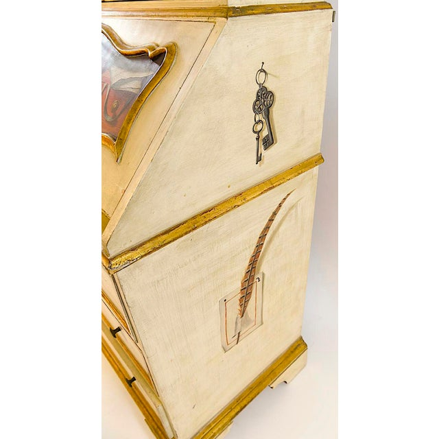 Gold 20th Century French Maison Jansen Hand Painted Secretary Desk For Sale - Image 8 of 12