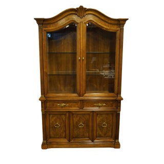 "White of Mebane Burled Walnut Italian Provincial 48"" Lighted Display China Cabinet For Sale"