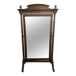 Louis XVI Style Solid Mahogany Cheval Mirror For Sale