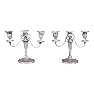 19th Century Sheffield Three-Branch Weighted Candelabras - a Pair For Sale
