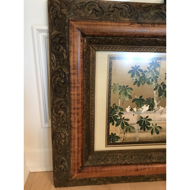 Antique Chinoiserie Panel Print in Wooden Frame For Sale - Image 4 of 13