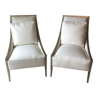 White Cotton Caracole Chairs with Pillows - A Pair