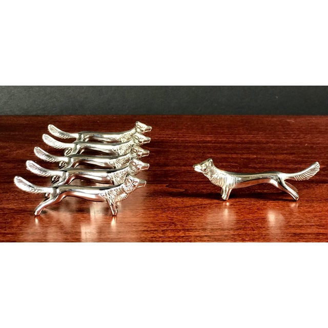 "Set of six silver plated knife rests. Each piece measuring 3"" in length in the shape of a fox. Great to use as a rest for..."