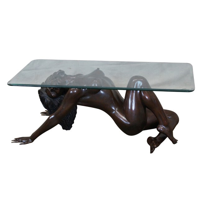 Bronze Nude Base & Glass Top Coffee Table For Sale
