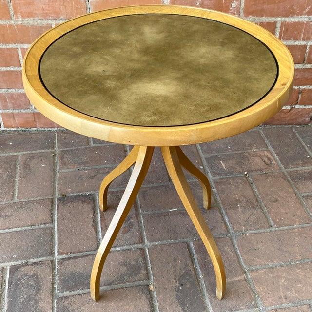 "Kipp Stewart for Drexel round leather-top end table, 1960s. Design: Kipp Stewart Cabinetmaker: Drexel / USA Size: 21""..."