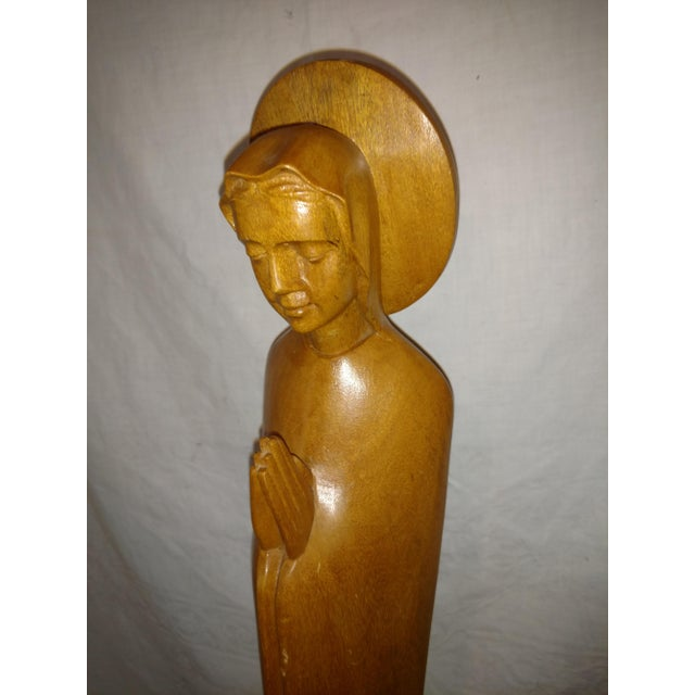 Art Deco Tall Vintage Italian Praying Madonna Wood Carved Statue For Sale - Image 3 of 6