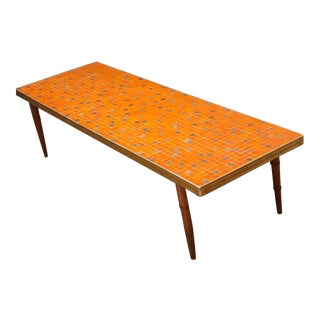 Danish Modern Orange and Gold Tile Top Coffee Table For Sale
