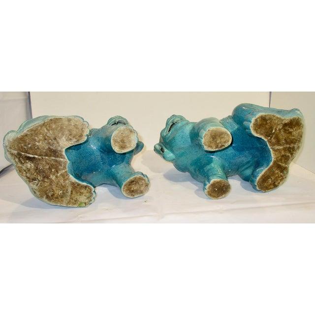 Ceramic Chinese Porcelain Mythological Beasts in Robin's Egg Blue Glaze - a Pair For Sale - Image 7 of 9