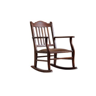 American Craftsman Child's Rocking Chair, Antique Oak and Leather For Sale