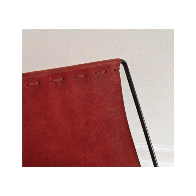 Red Suede + Iron Magazine Holder For Sale - Image 4 of 6