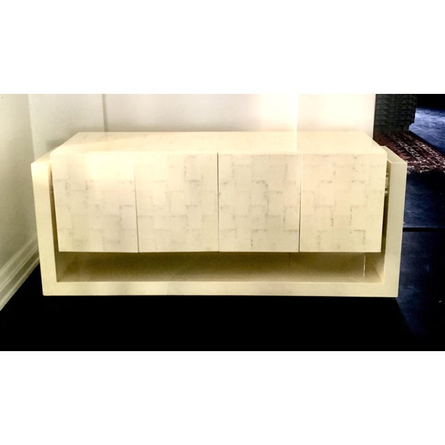 Karl Springer Style Faux Bone Floating Credenza - Image 11 of 11