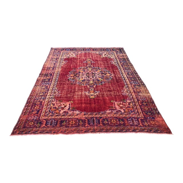 Antique Handwoven Turkish Red Wool Oversize Rug - 7′1″ × 9′10″ For Sale