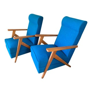 Vintage Mid Century Neon Blue French Armchairs- A Pair For Sale