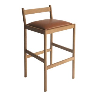 Carob Counter Stool by Sun at Six, Sienna Minimalist Stool in Oak Wood For Sale