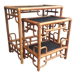 Chinoiserie Bamboo Fretwork Nesting Tables - Set of 2 For Sale