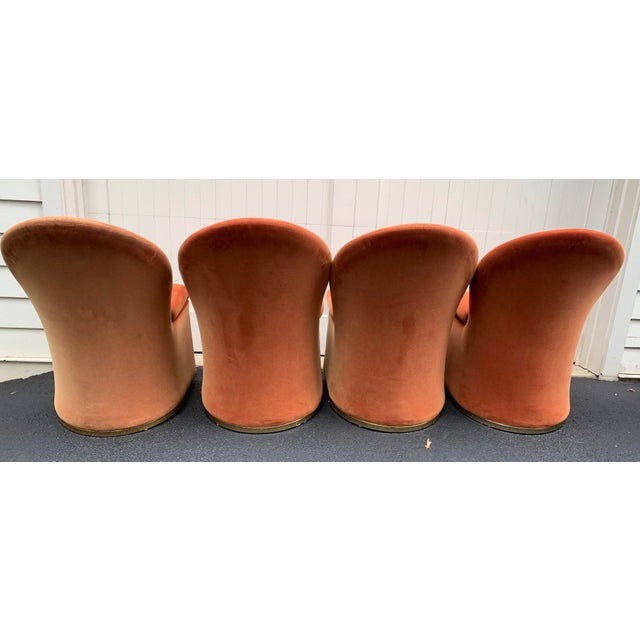 1980's Velvet Chairs With Brass Base - Set of 4 For Sale In New York - Image 6 of 13