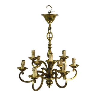 Antique French Bronze Louis XVI Nine Light Chandelier For Sale