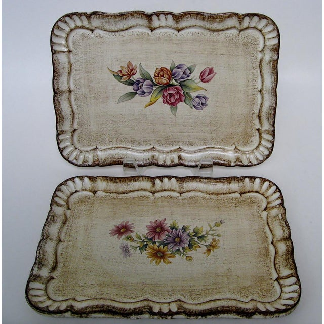 Italian Florentine Botanical Trays - a Pair For Sale - Image 3 of 6