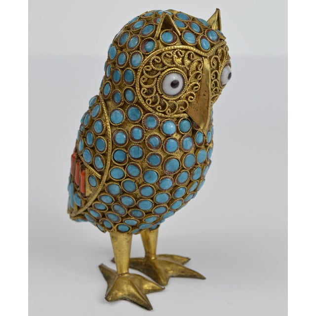 Nepalese Brass Owl Figurine With Turquoise and Coral For Sale - Image 13 of 13
