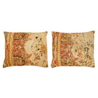 "Antique Art Deco Needlepoint Pillows, Size 20""h X 16""w (1' 8""h X 1' 4""w) - a Pair For Sale"