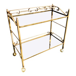 1970s Mid Century Modern Blackened Gold Wrought Iron Bar Cart