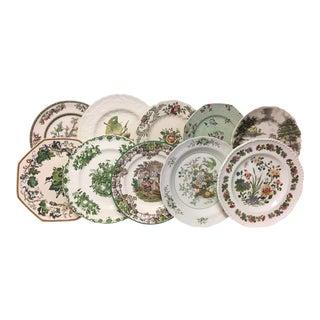 Olive Green Transferware Dinner Plates Set of 10 For Sale